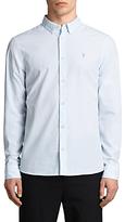 Allsaints Allsaints Kelso Pinstripe Slim Fit Long Sleeve Shirt, Light Blue/white
