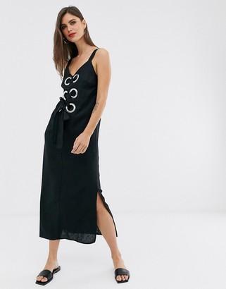 Asos Design DESIGN eyelet detail cami maxi dress in linen-Black