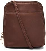 Le Donne Café U-Zip Leather Crossbody Bag