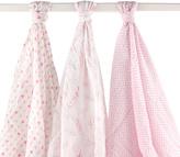 Hudson Baby 46'' x 46'' Pink Feather Muslin Swaddling Blanket Set