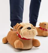 Asos Design Bull Dog Slippers In Tan