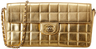 Chanel Gold Quilted Leather Chocolate Bar East West Bag