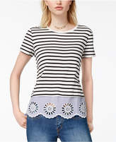 Maison Jules Cotton Lace-Up Top, Created for Macy's