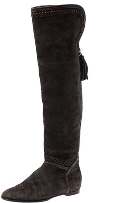 Jimmy Choo Green Suede Whip Stitch Detail Over the Knee Boots Size 38