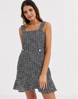 Miss Selfridge pinny dress with frill hem in check