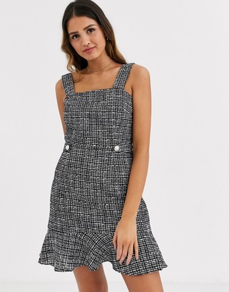 Miss Selfridge pinny dress with frill hem in check
