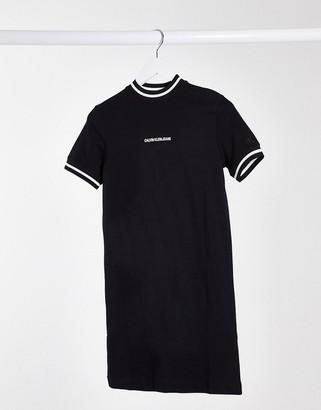 Calvin Klein neck and cuff tipping t-shirt dress in balck