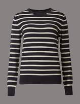 Marks and Spencer Pure Cashmere Striped Round Neck Jumper