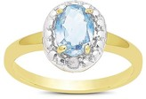 1.10 Carat TW Oval-cut Aqua Topaz and Diamond Accent Ring Gold Plated (IJ-I2-I3) (March)