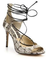 Michael Kors Valerie Snakeskin & Leather Lace-Up Sandals