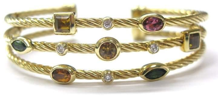 David Yurman Multi Tourmaline Diamond Bangle Cuff Bracelet