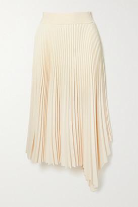 Joseph Swinton Asymmetric Pleated Crepe Midi Skirt - Ivory