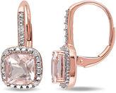 FINE JEWELRY Cushion-Cut Genuine Morganite and 1/10 CT. T.W. Diamond 10K Rose Gold Earrings