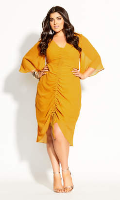 City Chic Drawn Up Dress - honey