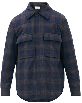 Raey Checked Seersucker Wadded Overshirt - Navy Multi