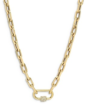 Zoe Lev 14K Yellow Gold Large Open Link Chain with Diamond Carabiner Necklace, 16