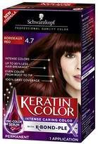 Schwarzkopf Keratin Color Anti-Age Hair Color Cream, 4.7 Bordeaux Red (Packaging May Vary)