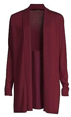 Elie Tahari Women's Adele Silk Back Merino Wool Cardigan