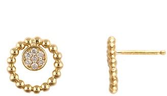 Bony Levy 18K Yellow Gold Pave Diamond Disc Beaded Hoop Earrings - 0.07 ctw