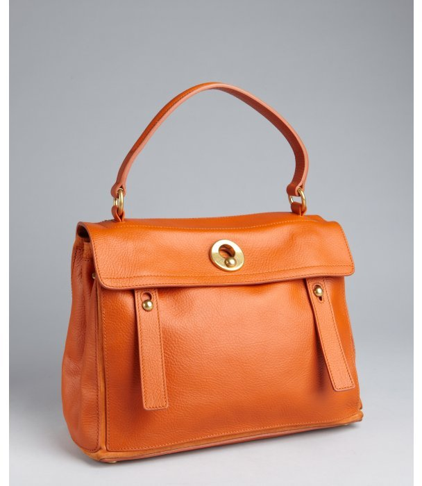 Yves Saint Laurent orange leather 'Travel Muse 2' top handle tote