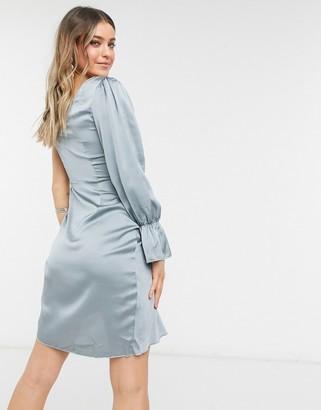 Little Mistress one shoulder twist detail satin dress in teal grey