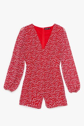 Nasty Gal Womens Grow All Out Relaxed Floral Playsuit - Red - 6