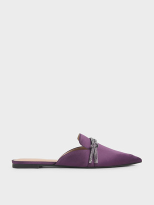Charles & Keith Satin Embellished-Knot Mules