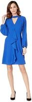 Adrianna Papell Fancy Crepe Ruffle Dress (Moroccan Blue) Women's Dress
