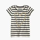 J.Crew Girls' gold heart striped T-shirt