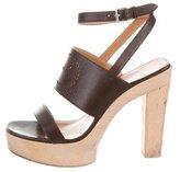 Hermes Logo Platform Sandals