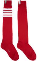 Thom Browne Red Ribbed Knee-high Four Bar Socks