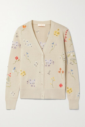 Tory Burch - Simone Embellished Cotton Cardigan - Beige