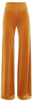 Galvan Winter Sun Velvet Palazzo Trousers - Womens - Dark Yellow
