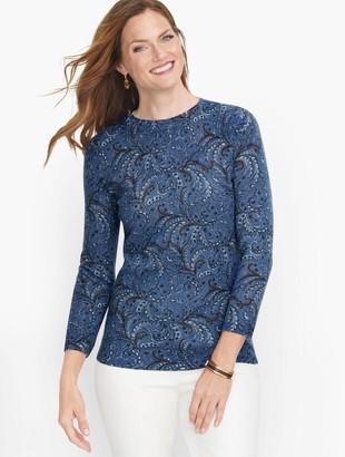 Talbots Cashmere Audrey Sweater - Scroll Print