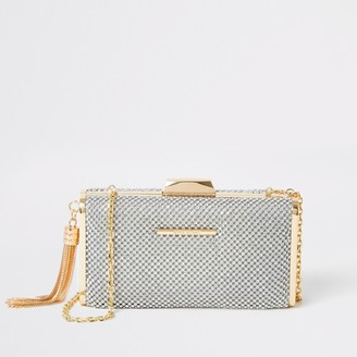 River Island Womens Silver diamante embellish box clutch bag