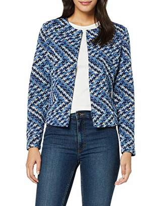Tom Tailor Casual Women's Gemusterter Suit Jacket, Blue offwhite Struct 281, (Size of : Small)