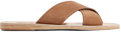 Ancient Greek Sandals Thais Suede And Leather Slides - Light brown