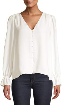Joie Long-Sleeve V-Neck Button-Front Blouse