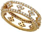 Crislu Lacey 18K Gold Plated CZ Pave Filigree Band Ring