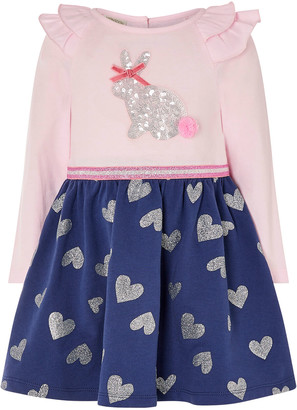 Monsoon Baby Bunny 2-in-1 Dress in Organic Cotton Blue