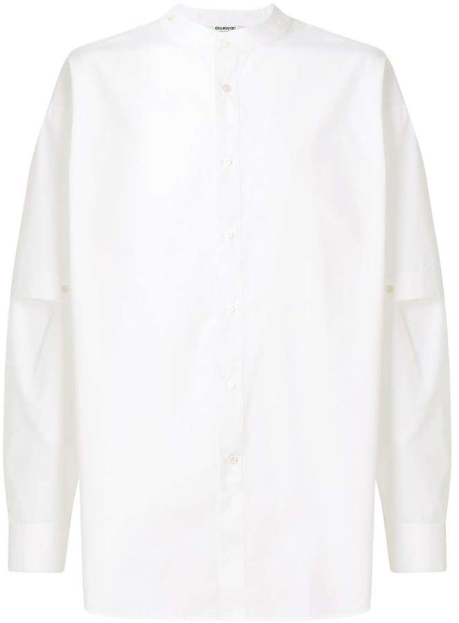 Chalayan split sleeve mandarin collar shirt