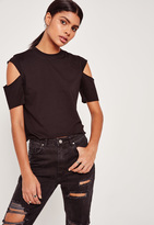 Missguided Black Open Sleeve Cropped T-Shirt