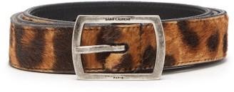 Saint Laurent Leopard-print Calf-hair Belt - Womens - Brown
