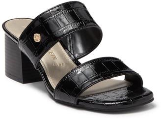 Anne Klein Bunny Croc Embossed Block Heel Sandal