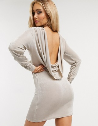 Asos DESIGN slinky cowl back long sleeve mini dress with gathered cuff in stone