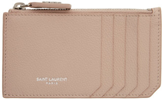 Saint Laurent Pink Fragment Zipped Card Holder