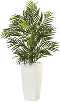 "Nearly Natural 39""H Areca Artificial Palm in White Square Planter"""