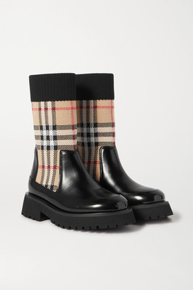 Burberry Ages 4 - 11 Checked Stretch-knit And Glossed-leather Boots