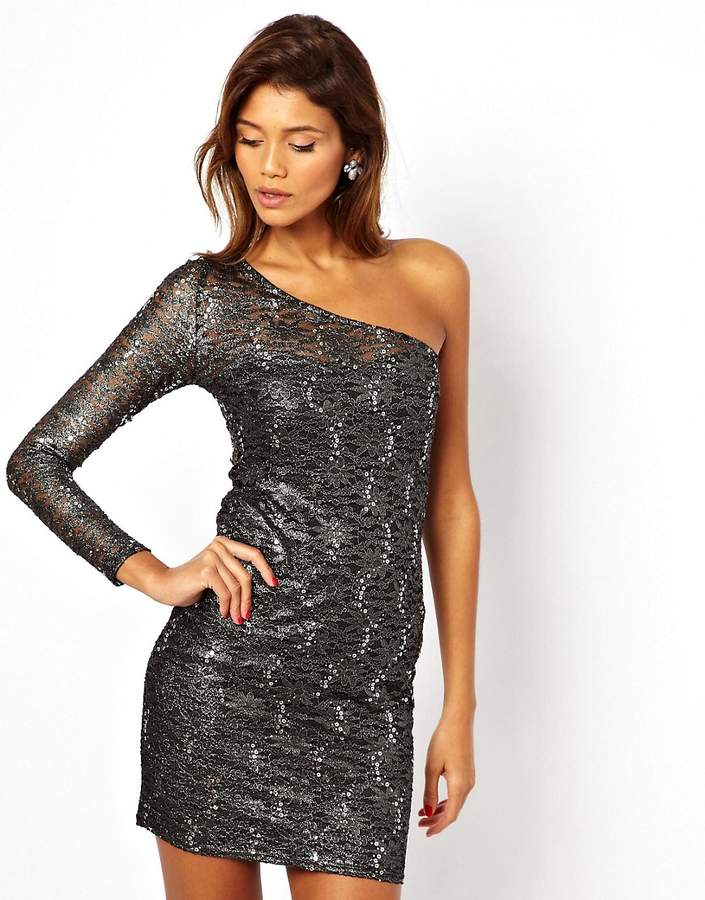Lipsy Lace Dress with One Shoulder