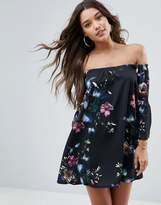 Asos Off Shoulder Dress With Bell Sleeve In Dark Based Floral Print